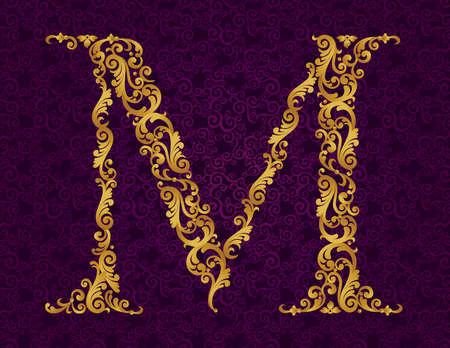 Gold font type letter M, uppercase. Vector baroque element of golden alphabet made from curls and floral motifs. Victorian ABC element in vector.