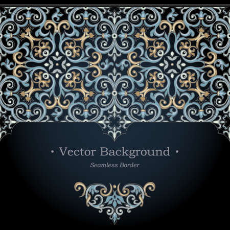 Illustration for Vector ornate seamless border in Victorian style. Gorgeous element for design. Ornamental vintage pattern for wedding invitations, birthday and greeting cards. Traditional dark background. - Royalty Free Image