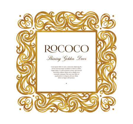 7ff0fc50232c Vector vintage square frame  ornate floral vignette for design template.  Victorian style gold element