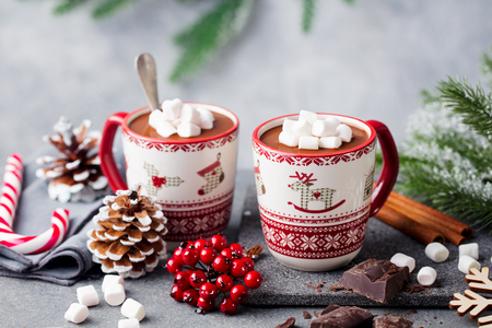 Foto de Hot chocolate drink with marshmallows. Christmas, New Year decoration. Grey background. Close up. Copy space. - Imagen libre de derechos