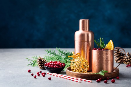 Photo for Moscow mule cocktail set, ingredients for Christmas and New Year holiday drink. Copy space. - Royalty Free Image