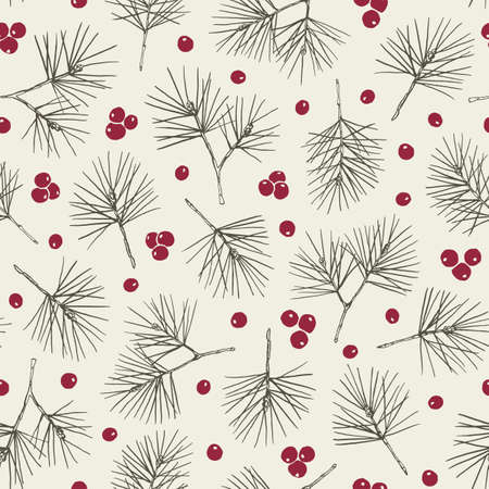 Illustration pour Rustic Hand Drawn Green Pine Tree and Red Berries Vector Seamless Pattern. Christmas Foliage Line Drawing Background - image libre de droit