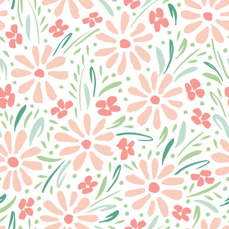 Illustration pour Pastel colored hand-painted daisies on white background vector seamless pattern. Delicate spring summer floral print - image libre de droit