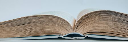 Photo pour Closeup of a hardcover book open in the middle, Open book, copy space for text - image libre de droit