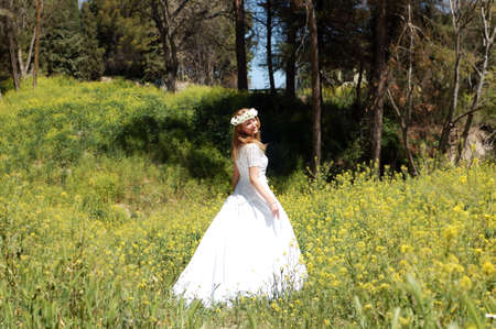 novia en bosque