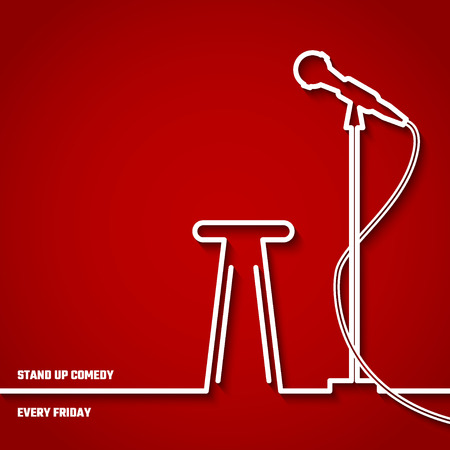 Illustration of Stand up Comedy in Night Club for Design