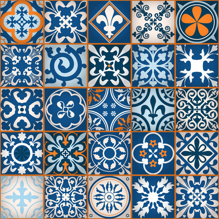 Illustration for Vector Illustration of Moroccan tiles Seamless Pattern for Design, Website, Background, Banner. Element for Wallpaper or Textile. Middle Ages Ornament Texture Template - Royalty Free Image