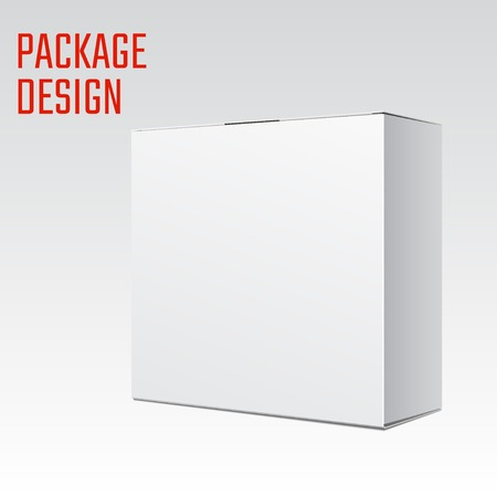 Vector Illustration of White Product Cardboard Package Box for Design, Website, Banner. Mockup Element Template for Your Brand or Product. Isolated on White Background