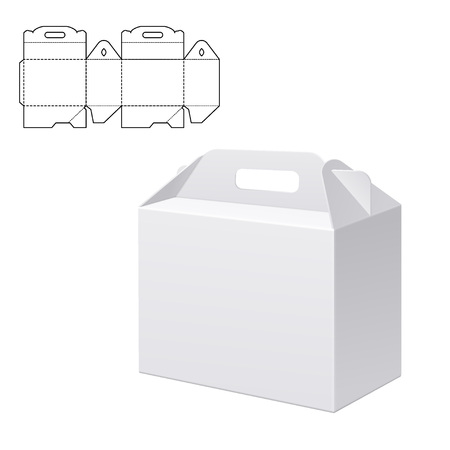 Vektor für Vector Illustration of Clear Folding Carton Box with diecut for Design, Website, Background, Banner. White Habdle Package Template isolated on white. Retail pack with dieline for your brand on it - Lizenzfreies Bild