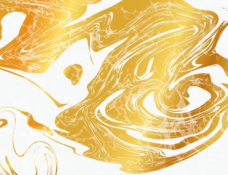 Illustration pour Vector Illustration of Marbling Texture  for Design, Website, Background, Banner. Ink Liquid Element Template. Watercolor Pattern. Gold and Black - image libre de droit