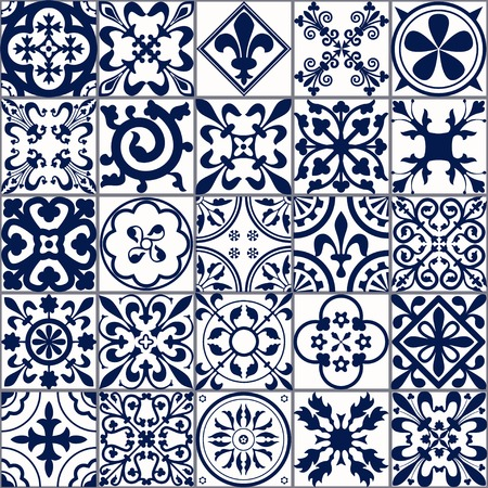 Illustration for Vector Illustration of Moroccan tiles Seamless Pattern for Design, Website, Background, Banner. Spanish element for Wallpaper, Ceramic or Textile. Middle Ages Ornament Texture Template. White and Blue - Royalty Free Image
