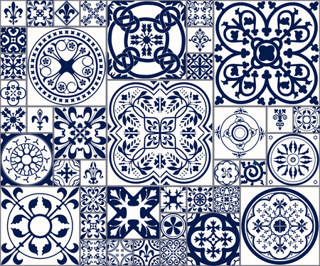 Illustration pour Vector Illustration of Moroccan tiles Seamless Pattern for Design, Website, Background, Banner. Spanish element for Wallpaper, Ceramic or Textile. Middle Ages Ornament Texture Template. White and Blue - image libre de droit
