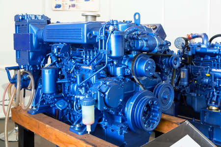 Modern diesel engine used on marine industry closeup