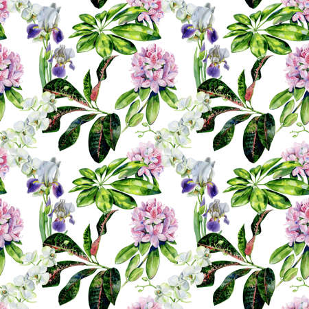 Photo pour Tropical flowers and iris seamless pattern. Interior wallpaper with pink azalea and white orchids. Exotic plants print. - image libre de droit