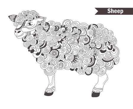 Sheep. coloring book for adult, antistress coloring pages ...