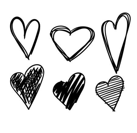 Illustration pour Hand drawn hearts set isolated. Design elements for Valentine's day. Collection of doodle sketch hearts hand drawn with ink. Vector illustration 10 EPS. - image libre de droit