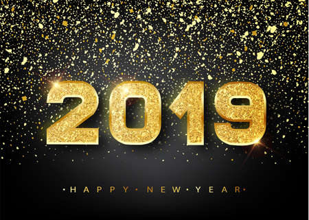 Ilustración de 2019 Happy new year. Gold Numbers Design of greeting card. Gold Shining Pattern. Happy New Year Banner with 2019 Numbers on Bright Background. Vector illustration - Imagen libre de derechos