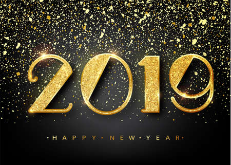 Ilustración de 2019 Happy new year. Gold Numbers Design of greeting card. Gold Shining Pattern. Happy New Year Banner with 2019 Numbers on Bright Background. Vector illustration. - Imagen libre de derechos