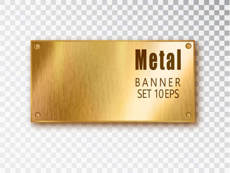 Illustration pour Metal gold banners realistic. Vector Metal brushed plates with a place for inscriptions isolated on transparent background. Realistic 3D design. Stainless steel background - image libre de droit