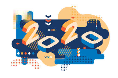 Illustration pour 2020 Colored Memphis style. Banner with 2020 Numbers. Vector New Year illustration. - image libre de droit