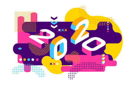 Ilustración de 2020 Colored Memphis style. Banner with 2020 Numbers. Vector New Year illustration. - Imagen libre de derechos