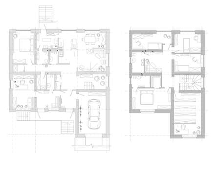 Disposition of the house. An example of the arrangement of furniture. plan two-storey house. Vector. Detailed architectural plan.Black and White floor plan sketch of a house.