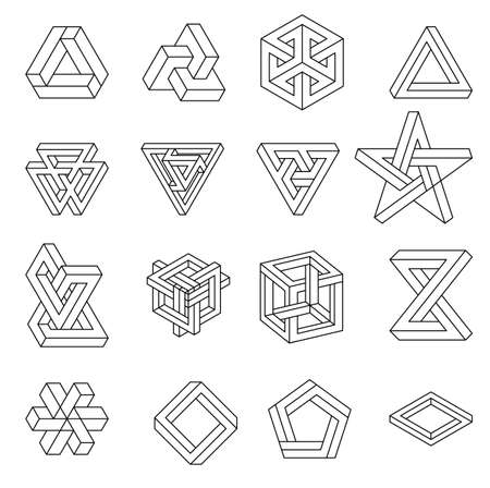 Photo pour Set of impossible shapes. Optical Illusion. Vector Illustration isolated on white. Sacred geometry. Black lines on a white background. - image libre de droit
