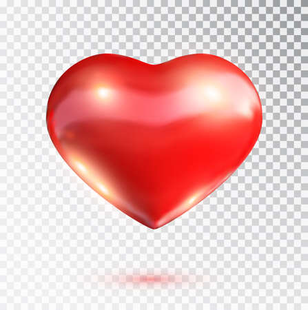 Illustration for Red heart isolated on transparent background. Happy Valentine's day greeting template. Vector illustration. - Royalty Free Image