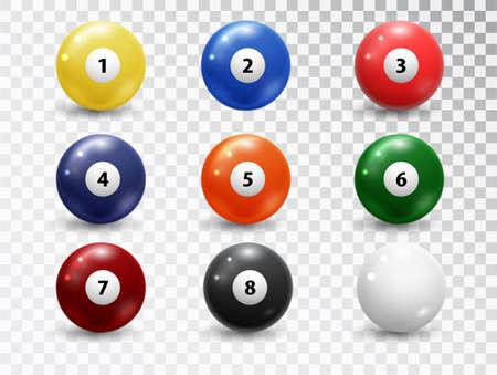 Illustration pour Billiard balls, pool accessory set. Realistic balls on transparent background. Vector design elements. - image libre de droit
