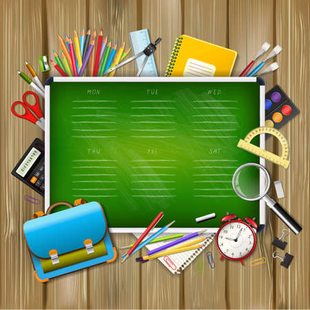 School timetable on green classroom chalkboard with supplies tools on wood background. School hand drawn schedule. Layered realistic vector illustration.