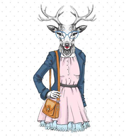 Illustration for Retro Hipster fashion animal deer. Woman model - Royalty Free Image