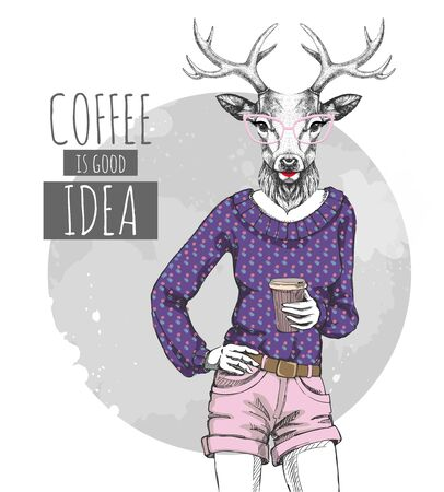 Illustration for Retro Hipster fashion animal deer with coffee. Woman model - Royalty Free Image