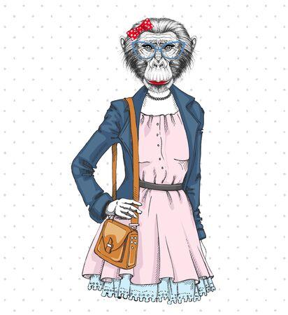 Illustration for Retro Hipster fashion animal monkey. Woman model - Royalty Free Image