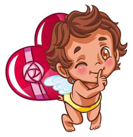 angel holding heart gift behind his back