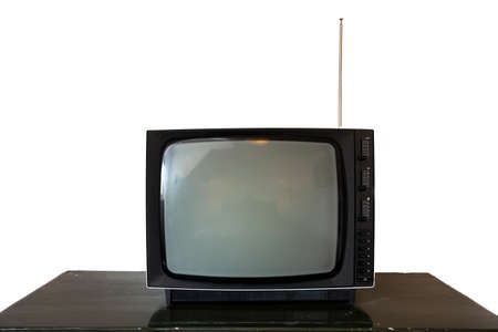 Photo for Black old vintage television isolated on white background. Retro design, space for text - Royalty Free Image