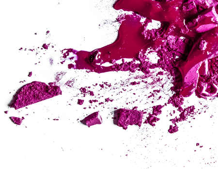 Foto de Beauty texture, cosmetic product and art of make-up concept - Crushed eyeshadows, lipstick and powder isolated on white background - Imagen libre de derechos