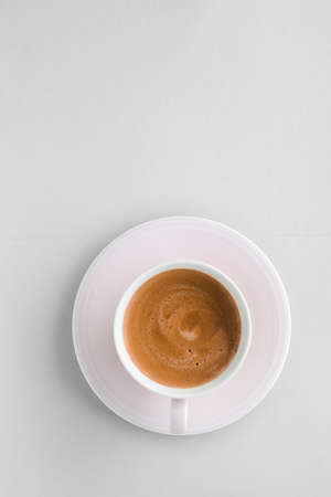 Photo pour Drinks menu, italian espresso recipe and organic shop concept - Cup of hot french coffee as breakfast drink, flatlay cups on white background - image libre de droit