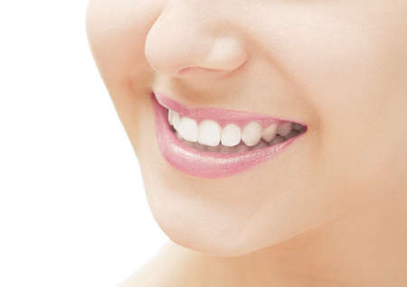 Photo pour Perfect smile and healthy white natural teeth, happy smiling for dental and beauty ads - image libre de droit