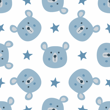 Illustration pour Repeated stars and heads of funny bears. Cute seamless pattern for children. Endless animal print. Vector illustration. - image libre de droit