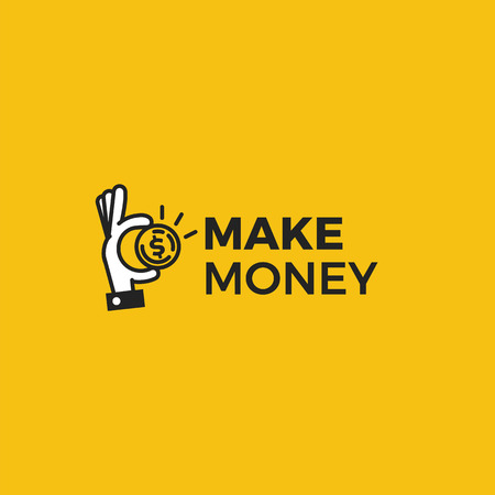 Illustration pour Make money logo. Gold dollar coin with hands businessman. Vector line art cartoon illustration - image libre de droit