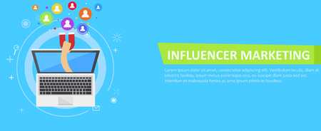 Ilustración de Influencer marketing banner. From the computer comes out a hand with a magnet, calling users. Vector flat illustration - Imagen libre de derechos