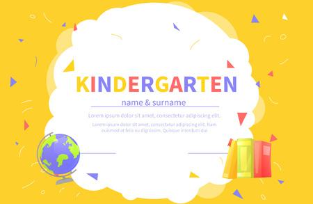 Illustration pour Kindergarten certificate templates for student. Kids design diploma Learning and Education. Vector cartoon illustration - image libre de droit