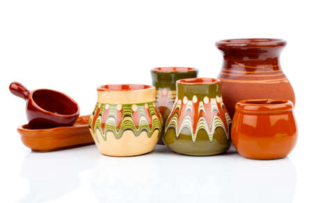 old kitchenware (clay pots), on white background