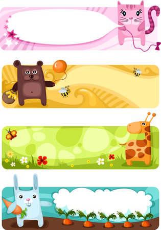 Ilustración de cute animal card set - Imagen libre de derechos