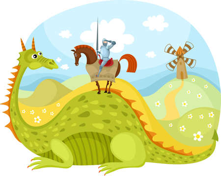Illustration for dragon and knight - Royalty Free Image