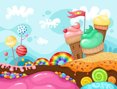 Illustration for sweet landscape illustration - Royalty Free Image
