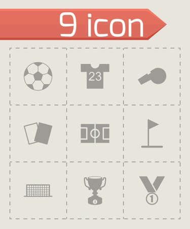 Ilustración de black soccer icon set on grey background - Imagen libre de derechos