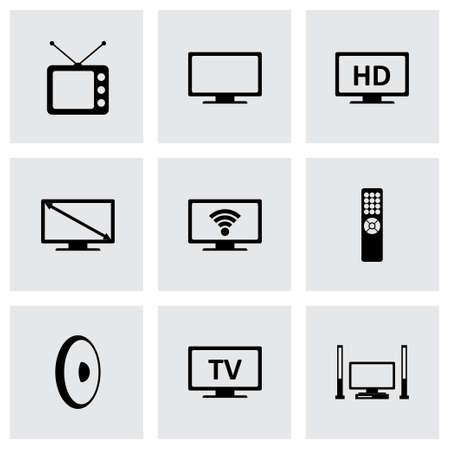 tv icon set on grey background