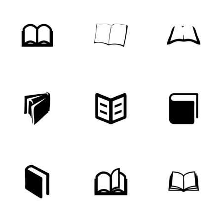 Vector book icon set on white background