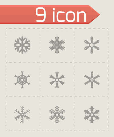 snowflake icon set on grey background